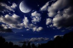 Night landscape with the moon Stock Photos