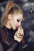 Makeup in gothic style Stock Photos