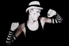 dancing mime in white hat - stock photo
