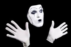 mime face and hands - stock photo