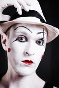 Portrait of serious theatrical clown Stock Photos