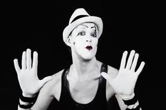 Theater actor in makeup mime clown Stock Photos