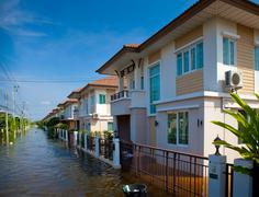 house flood in thailand - stock photo