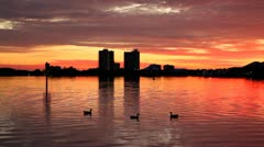 Sunset On Bay Stock Footage