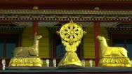 Buddhist Symbol Dharmacakra, Details of The Temple of the Pure Land Stock Footage
