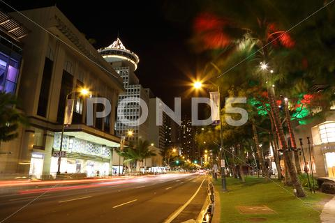 Stock photo of Kalakaua Avenue Honolulu Hawaii
