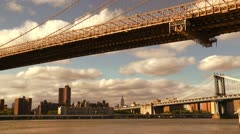 NY Empire view under two bridges Stock Footage
