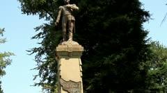 Doves on statue of Bernado Higgins Stock Footage