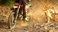 Stock Video Footage of Morocross Through Mud