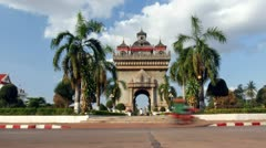 Patuxay, the victory gate of Vientiane, Laos Stock Footage