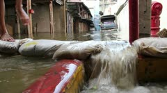 China Town flood 0195 Stock Footage