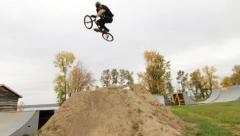 Extreme Biker 360 Trick Dirt Jump Stock Footage