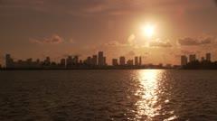 Miami Skyline Sunset Stock Footage