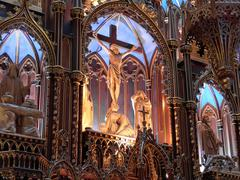 main altar of the notre-dame basilica in montreal - stock photo