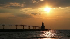 Michigan City Lighthouse Sunset Loop Stock Footage