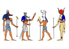 egyptian gods and goddess - stock illustration