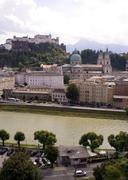 Salzburg across the river Stock Photos