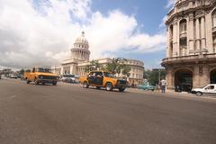 Cuban Taxi in front of Capitol - stock photo