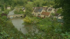 Normandy village from above (1) - stock footage