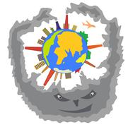Smoke on the planet earth Stock Illustration