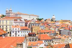 Alfama view, lisbon. roofs, monastery sao vicente, church santa engrácia Stock Photos