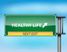Glossy highway sign with healthy life Stock Illustration