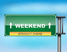 "Highway sign with ""weekend"" text Stock Illustration"