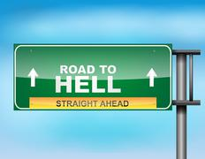 "Highway sign with ""road to hell"" text Stock Illustration"