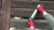 Wooden house wall insulation with Polyurethane foam Stock Footage