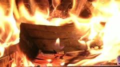 Fireplace flames from burning logs Stock Footage