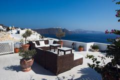 Room with a view, santorini, greece. Stock Photos