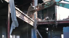 Destruction of Building With an Excavator Stock Footage