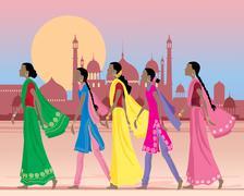 asian women - stock illustration