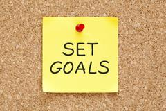 set goals sticky note - stock photo