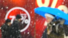 Slow Motion ROMANTIC Pedestrians Passerby walking discount sign in Winter Snow Stock Footage