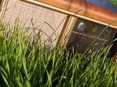 Radio in green grass Stock Photos
