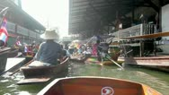 Stock Video Footage of Boats on Damnoen Saduak Floating Market