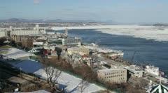 Quebec City Shoreline in Winter Stock Footage