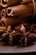 star aniseed and cinnamon sticks - stock photo