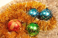 blue, red and green christmas-tree decorations - stock photo