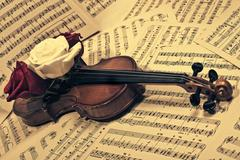old violin with musical notes and roses - stock photo