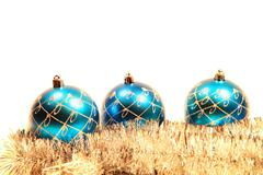 christmas card with christmas-tree decorations - stock photo