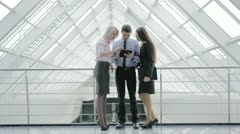 The business (job) collective meeting: man and women Stock Footage