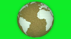 Paper and Cork Board Rotating Earth on Green Screen Stock Footage