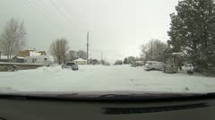Rural town winter snow on road church HD 044 Stock Footage