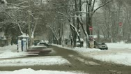 Car traffic in winter city timelapse Stock Footage