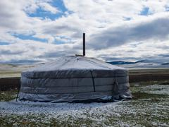 Snow covered mongolian ger Stock Photos