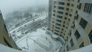 Timelapse of snowing in the city. View from high-rise building. Stock Footage