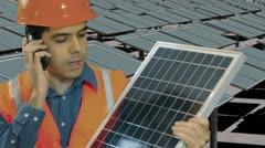Solar panel construction install instal Stock Footage