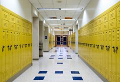 Stock Photo of High school hallway